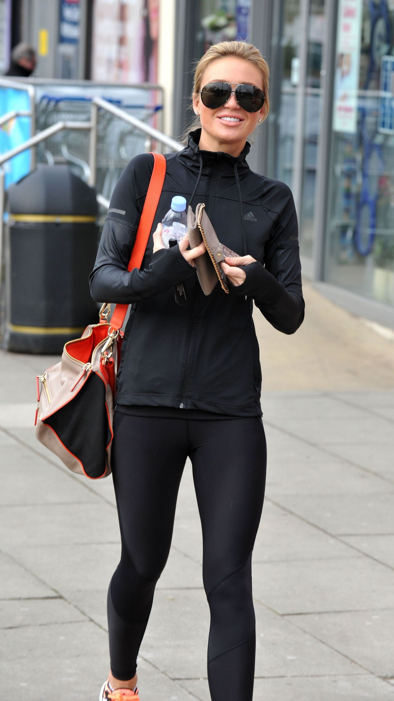 Alex Gerrard in Black Leggings and Tight Hoodie - Out in Liverpool, February 2015