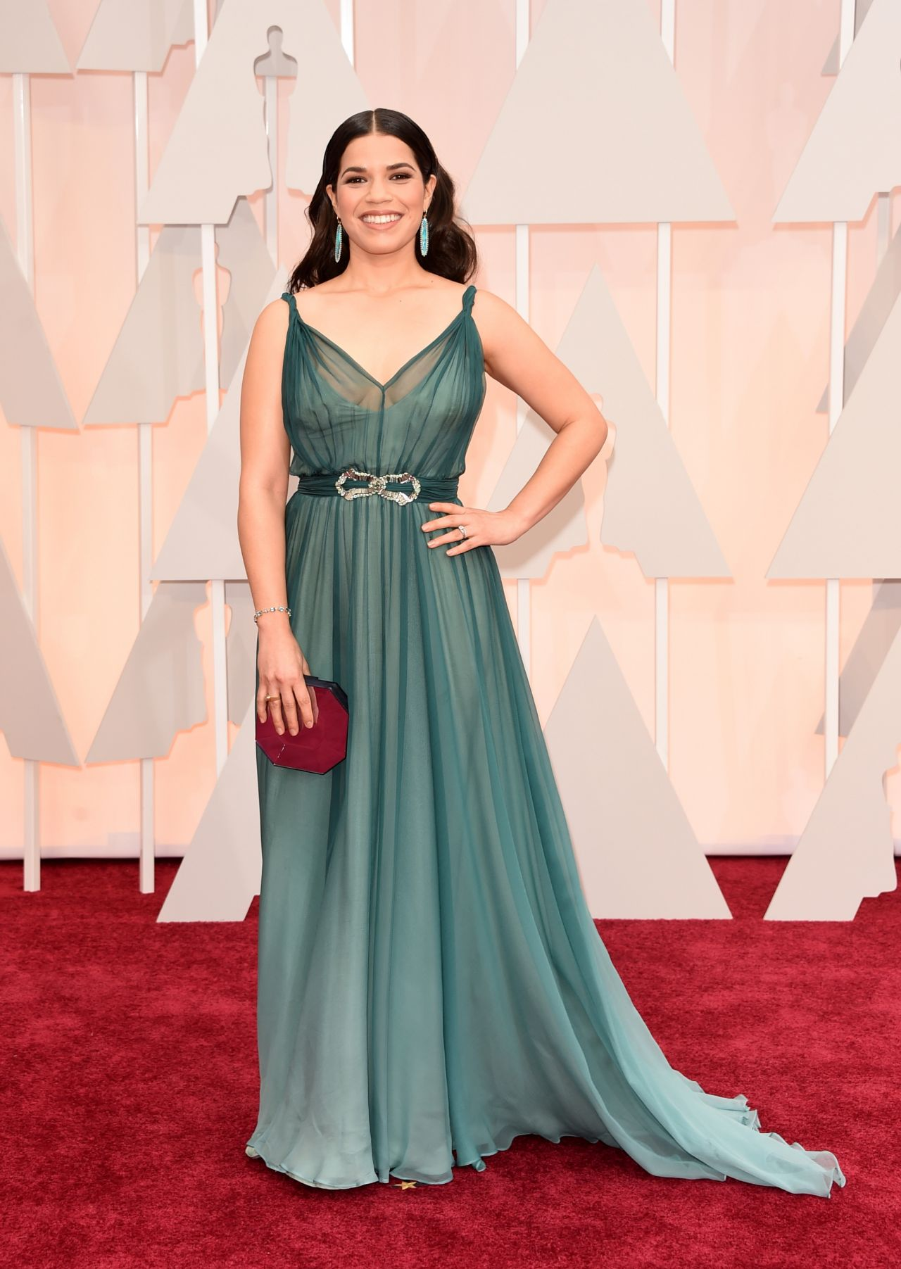 America ferrera 2015 oscars red carpet in hollywood - Red carpet oscar dresses ...