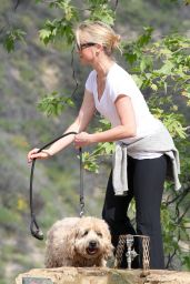 Amy Smart - With Her Dog at a Park in Beverly Hills, February 2015