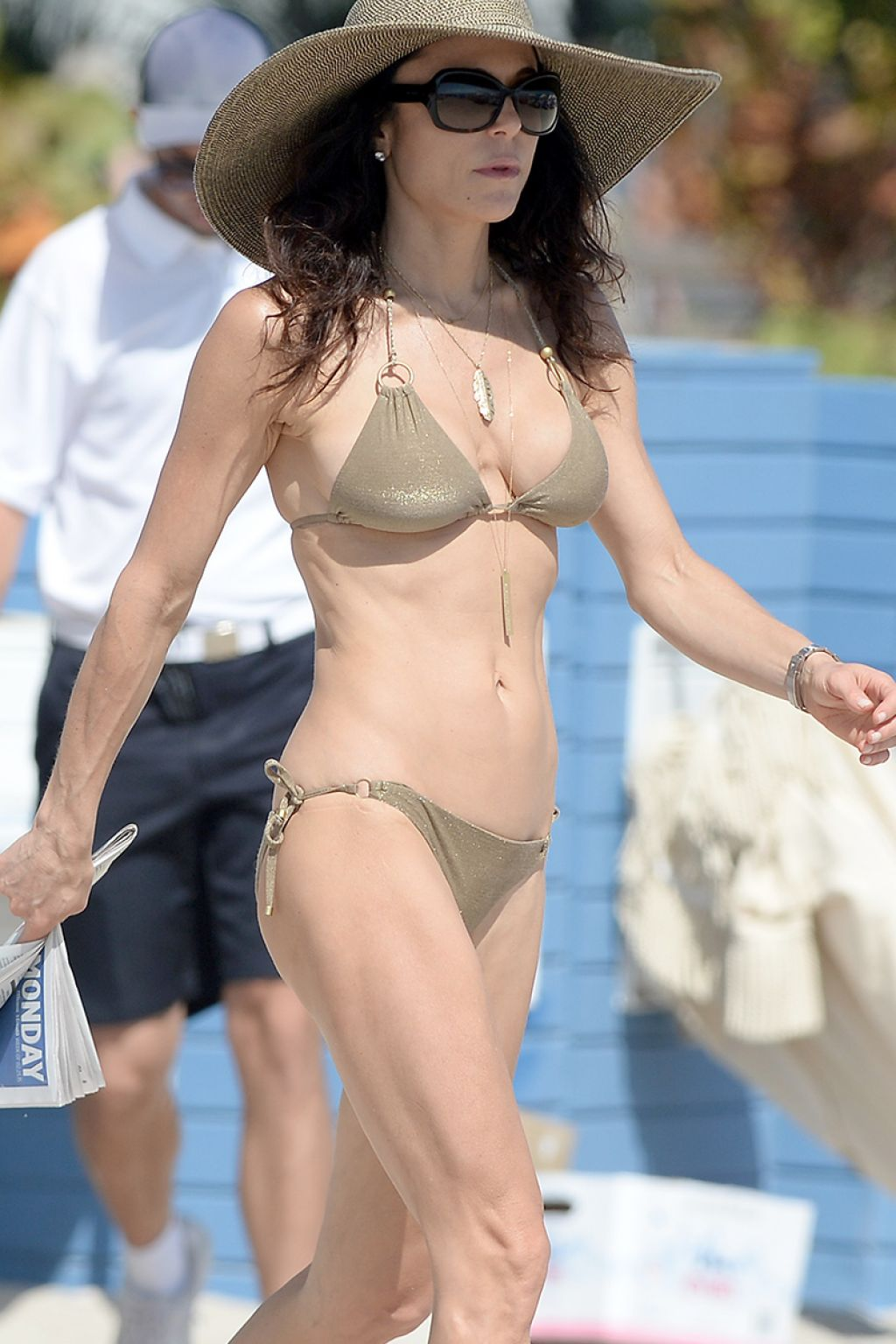 Bethenny Frankel in a Gold String Bikini On The Beach in Miami, Feb. 2015