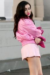 Charli XCX In Tiny Pink Skirt - On Set Of A Music Video, February 2015