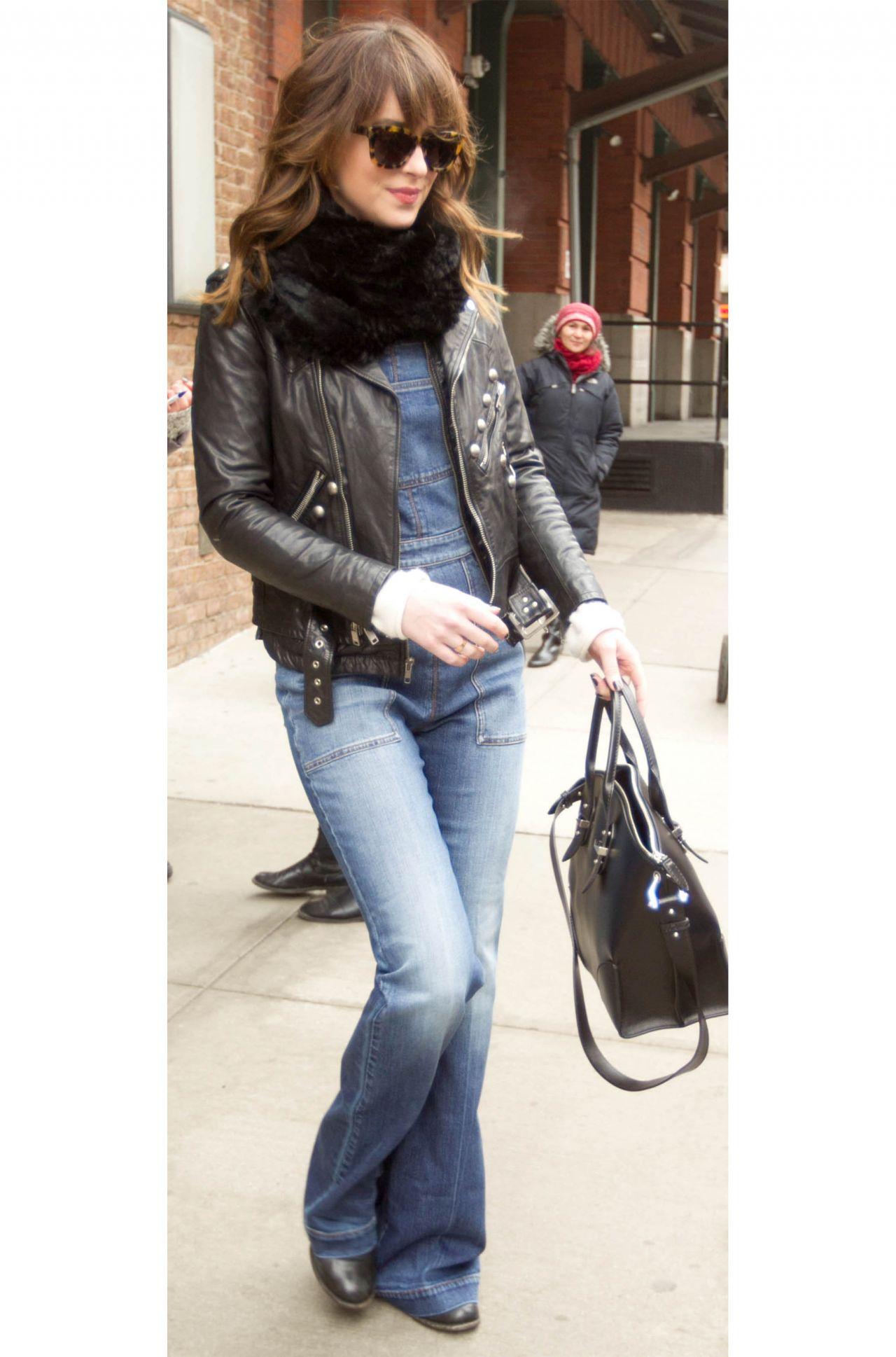 Dakota Johnson in Bell Bottom Jeans - Leaving Her Hotel in New York City, Feb. 2015