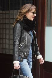 Dakota Johnson in Bell Bottom Jeans - Leaving Her Hotel in New York City, Feb. 2015