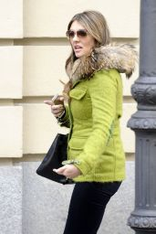 Elizabeth Hurley Street Style - Out in Madrid, Feb. 2015