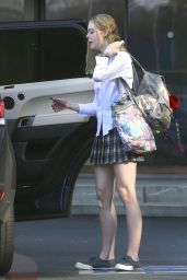 Elle Fanning Leggy in Mini Skirt - Out in Los Angeles, Feb. 2015