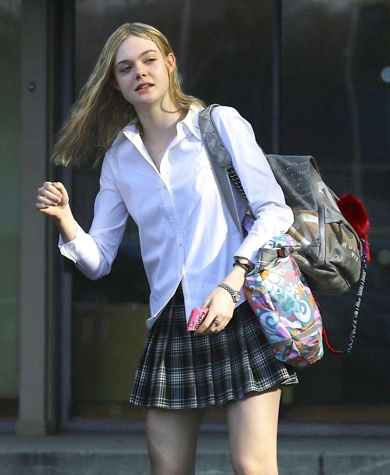 Elle Fanning Leggy In Mini Skirt Out In Los Angeles Feb
