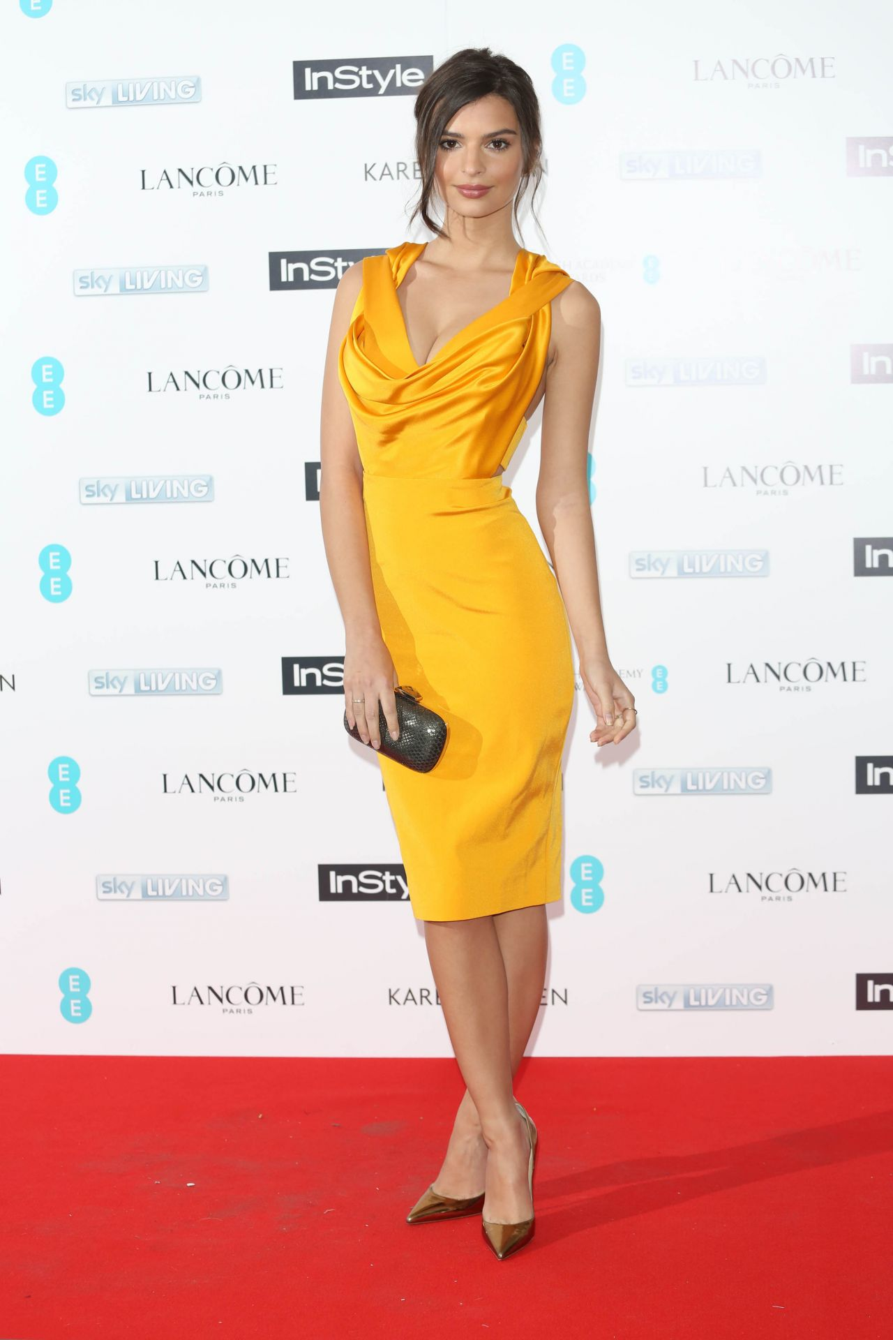 Emily Ratajkowski at pre-BAFTA InStyle & EE Rising Star Bash in London, Feb. 2015
