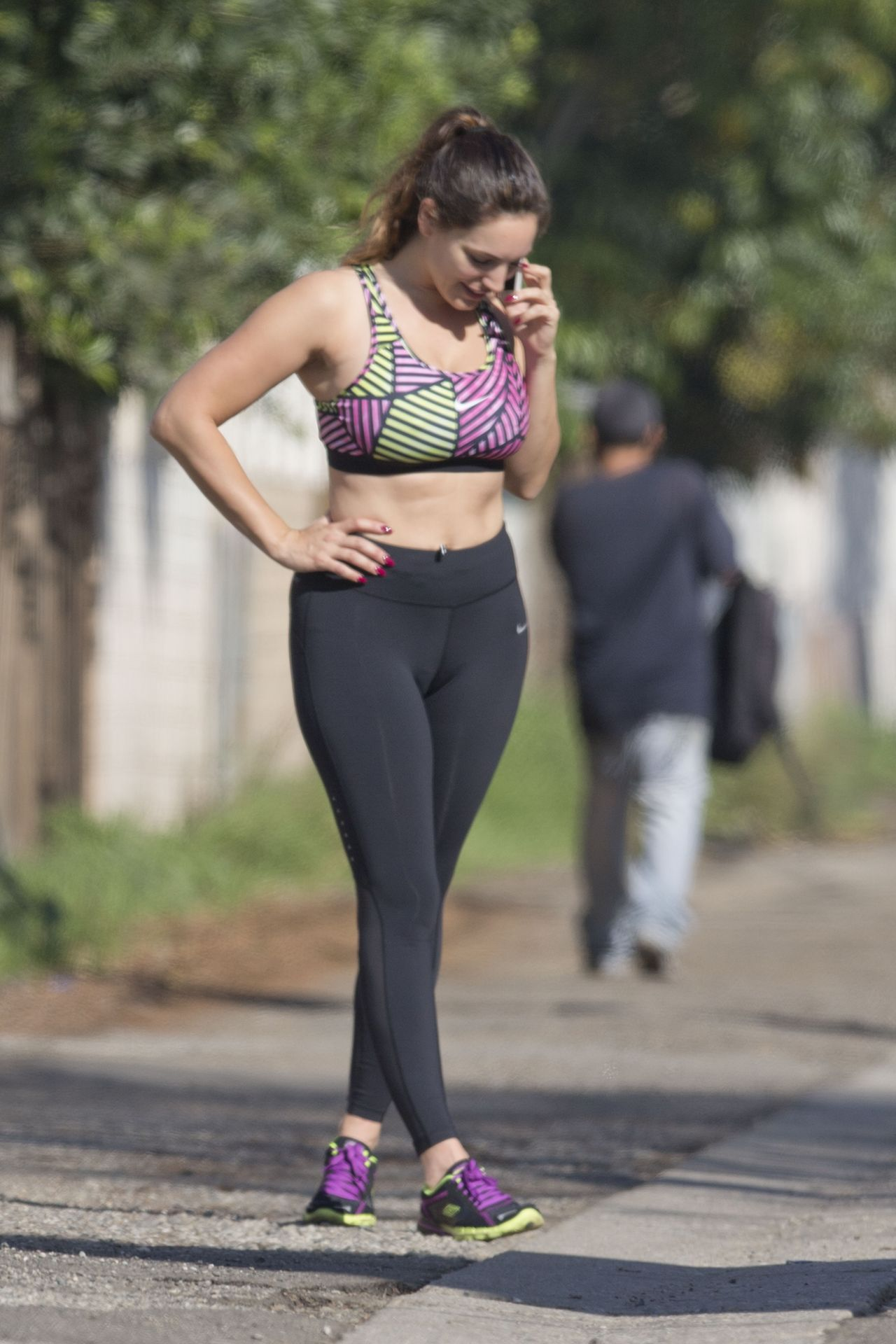 Brook in Skin Tight Vest and Leggings - Out in Los Angeles ...