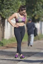 Kelly Brook in Skin Tight Vest and Leggings - Out in Los Angeles, February 2015