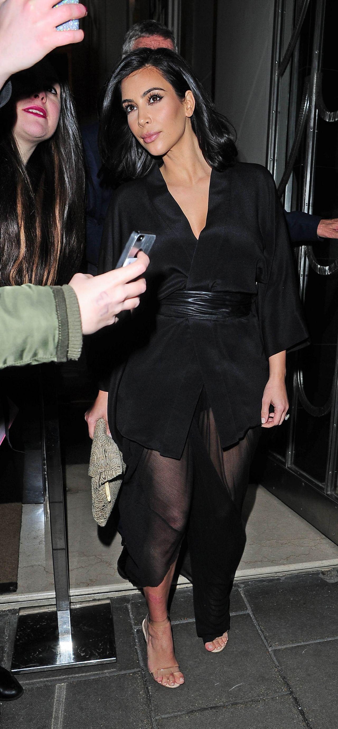 Kim Kardashian Night Out Style - Leaving Claridge