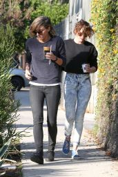 Kristen Stewart Street Style - Out for coffee With Alicia, January 2015