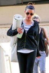 Lea Michele - Leaving a Yoga Class in Hollywood, Febuary 2015