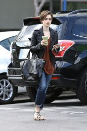 Lily Collins Casual Style - out in West Hollywood, February 2015