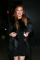 Lindsay Lohan Night out Style - Out in London, Feb. 2015