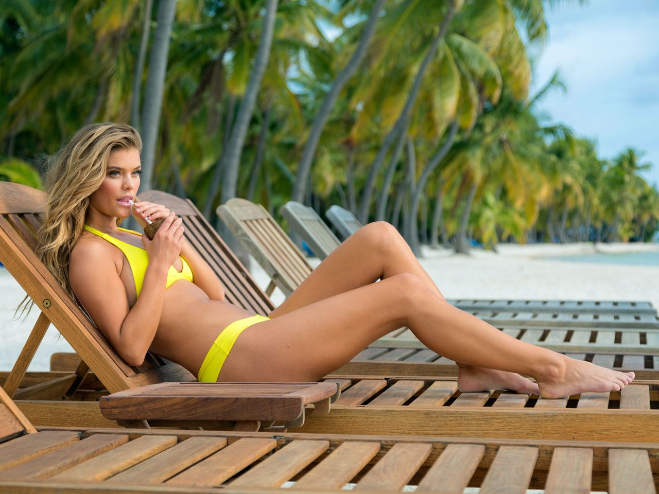 Nina Agdal in Yellow Bikini - Travel Channel: Beach Week 2015