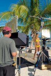Nina Agdal in Yellow Bikini - Travel Channel: Beach Week 2015