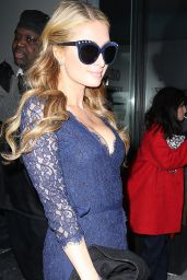 Paris Hilton Wearing a Blue Lace Dress - Outside Diane Von Fürstenberg Fash. Show New York