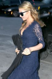 Paris Hilton Wearing a Blue Lace Dress - Outside Diane Von Fürstenberg Fash. Show New York