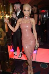 Rita Ora In Pink Leather Dress at Mert & Marcus House of Love Party in London