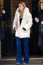 Suki Waterhouse Street Style - Leaving the Greenwich Hotel in New York City, Feb. 2015