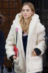 Suki Waterhouse Street Style - Leaving the Greenwich Hotel in New York City, Feb. 2015