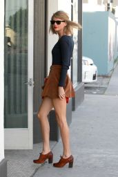 Taylor Swift Leggy in Mini Dress - Out in West Hollywood, February 2015