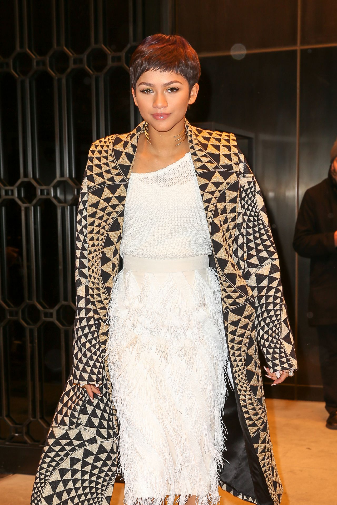 Zendaya With Her New Hairstyle – Leaving Her Hotel in New York City, Feb. 2015
