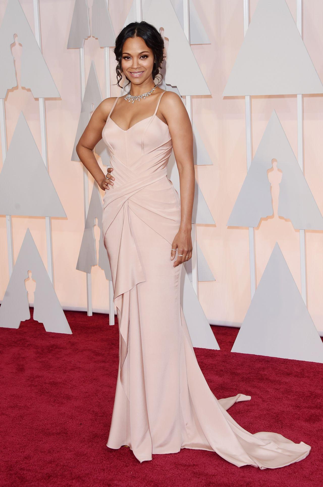 Zoe Saldana 2015 Oscars Red Carpet In Hollywood