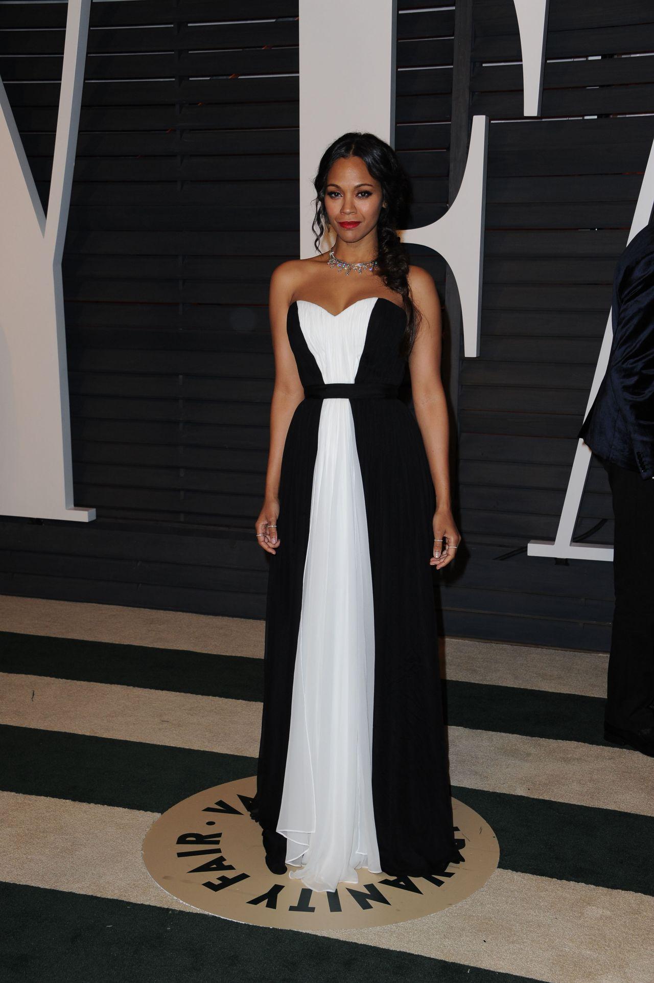 Zoe Saldana 2015 Vanity Fair Oscar Party In Hollywood