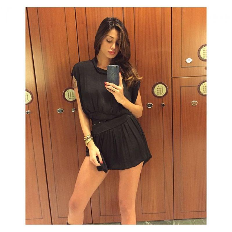 Belen Rodriguez - Selfie in Black Mini Dress - March 2015