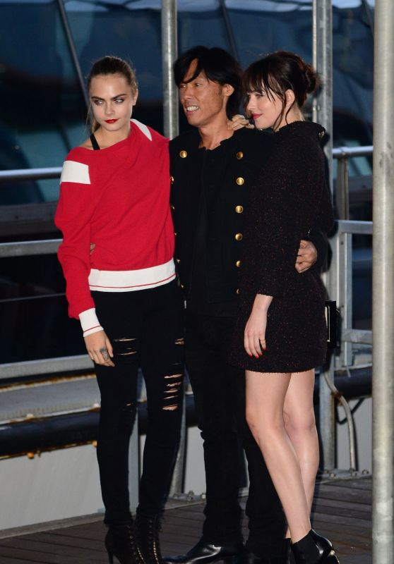 Cara Delevingne & Dakota Johnson at Karl Lagerfeld's Chanel Boat Party in New York City, March 2015