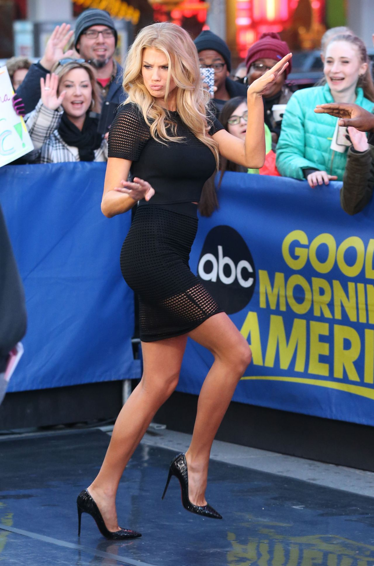 Good Morning America Nyc : Charlotte mckinney arriving to appear on good morning