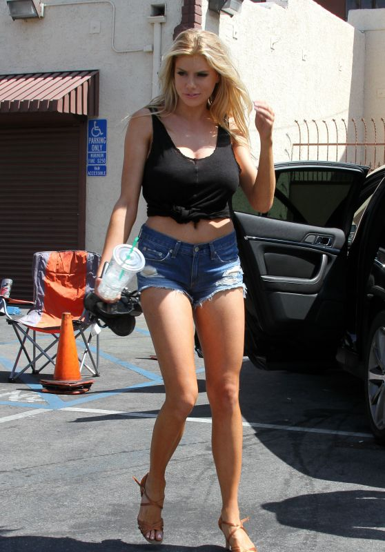 Charlotte McKinney Leggy in Jeans Shorts - DWTS Rehearsals in LA - March 2015