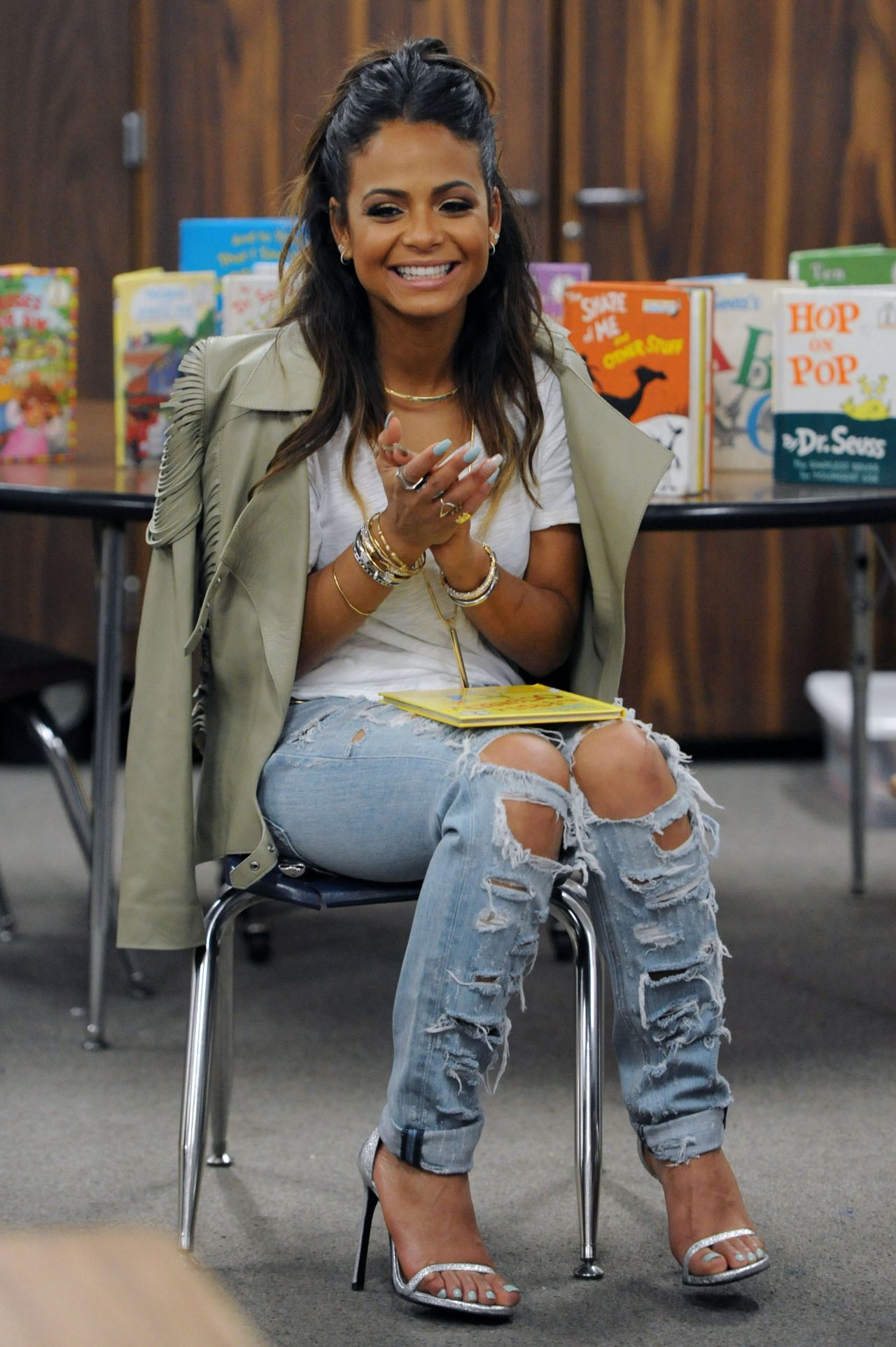Christina Milian In Ripped Jeans Read Across America