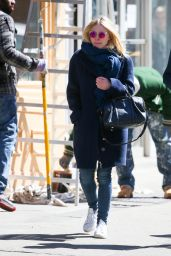 Dakota Fanning Street Style - Out in NYC, March 2015