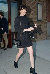 Dakota Johnson in Mini Dress - Leaving Her Hotel in NYC , March 2015