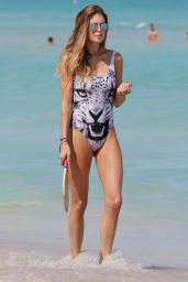 Doutzen Kroes in a Swimsuit on a Beach in Miami, March 2015