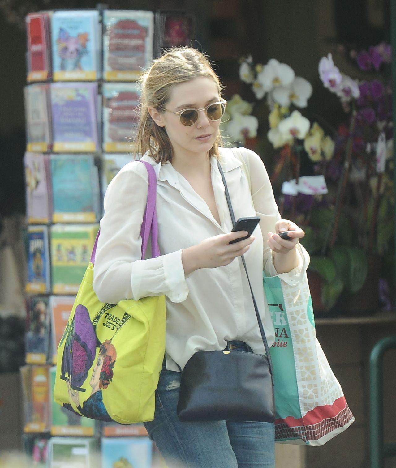 Elizabeth Olsen in Ripped Jeans - Shopping in LA - March ...