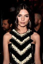 Emily Ratajkowski Style - Balmain Fashion Show in Paris, March 2015