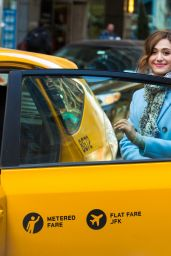 Emmy Rossum - Catches a Cab in New York City, March 2015