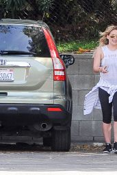 Hilary Duff in Leggings - Out in Los Angeles, March 2015
