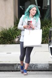 Hilary Duff Shows Off Her New Blue Hair - Leaving Nine Zero One Salon in West Hollywood, March 2015