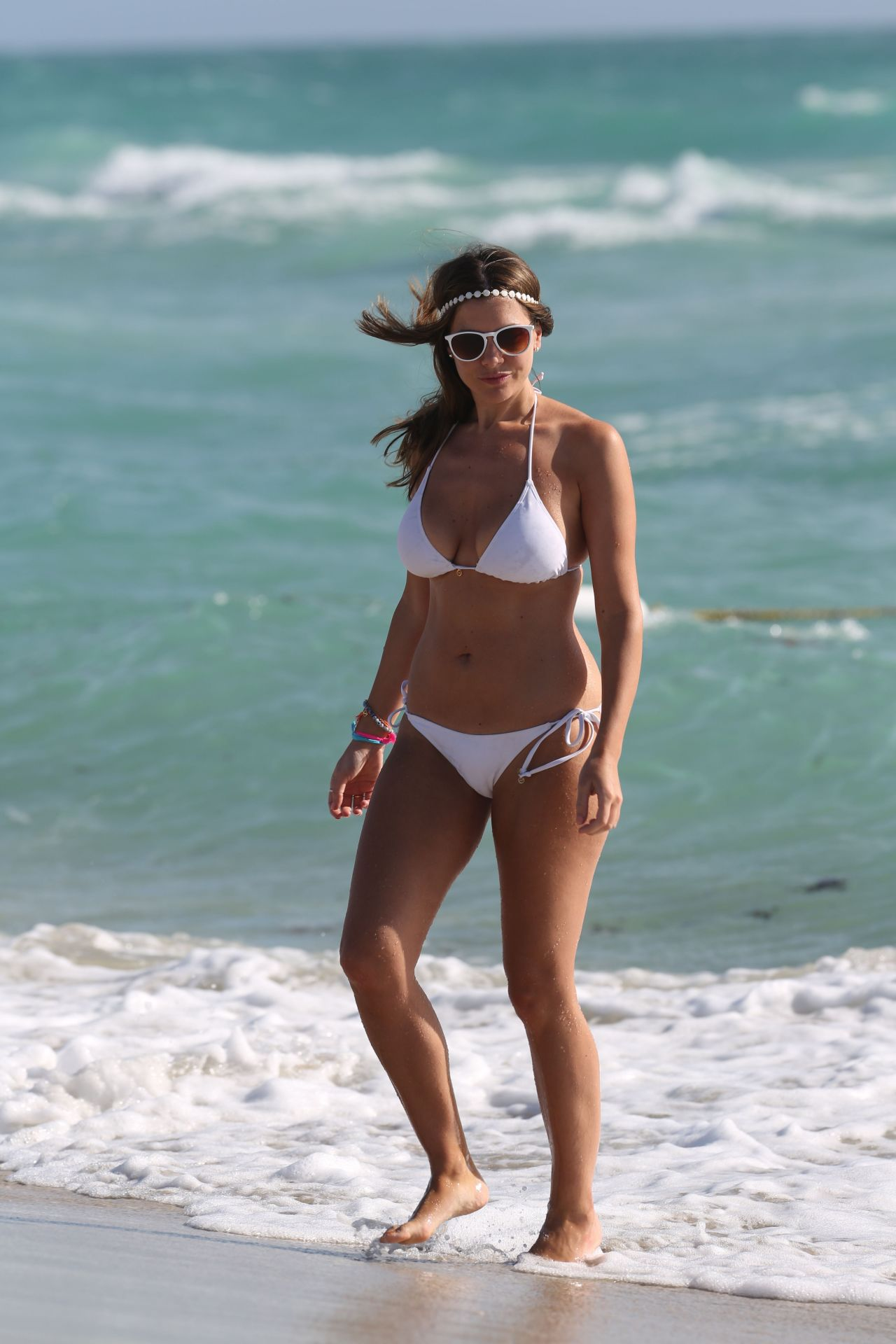 Imogen Thomas in White Bikini - Beach in Miami, March 2015