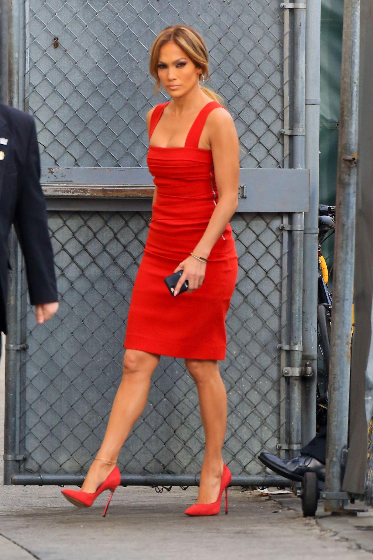 jennifer lopez in red dress arriving to appear on jimmy