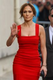 Jennifer Lopez in Red Dress - Arriving to Appear on Jimmy Kimmel Live in LA - March 2015
