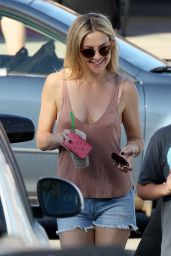 Kate Hudson in Jeans Shorts - Out in Malibu, March 2015