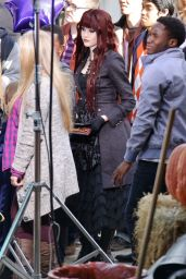 Katherine McNamara on set of 'Monsterville The Cabinet Of Souls' in Vancouver