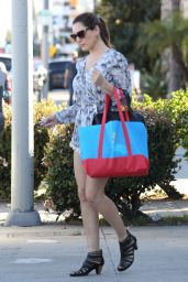 Kelly Brook Shows off Legs in Multi-Print Playsuit - Shopping in Los Angeles, March 2015