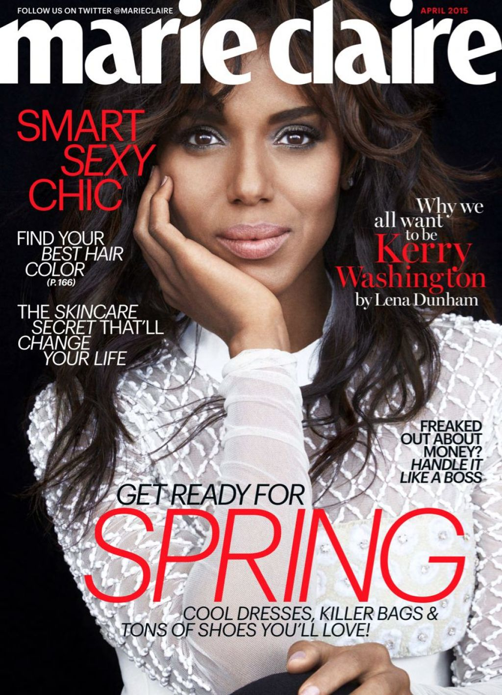 kerry washington marie claire magazine april 2015 issue. Black Bedroom Furniture Sets. Home Design Ideas