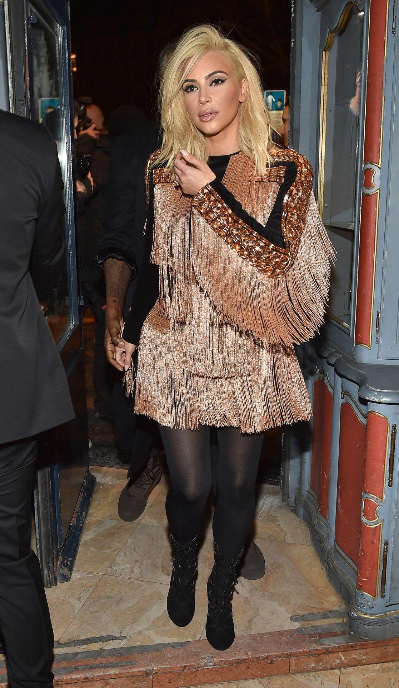 Kim Kardashian Night Out Style - Balmain Aftershow Dinner ...
